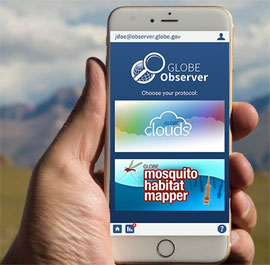 GLOBE Observer Mosquito Habitat Mapper app displayed on a smart phone