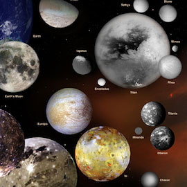 Artist's illustration of various moons in the solar system