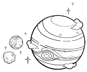 Line drawing of an exoplanet