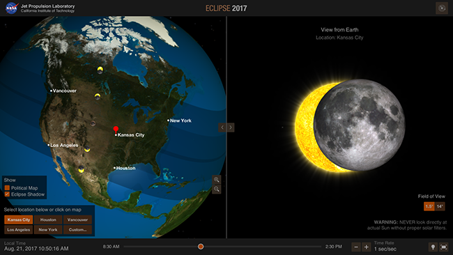 Screenshot of the NASA Eyes on the Eclipse App