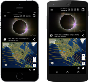 Two mobile devices displaying the Total Solar Eclipse 2017 App