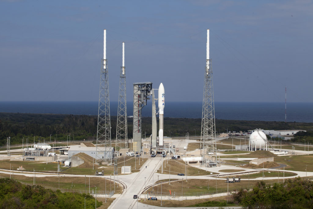 GOES-R being rolled out aboard ULA's Atlas V rocket, from VIF to Pad 41.