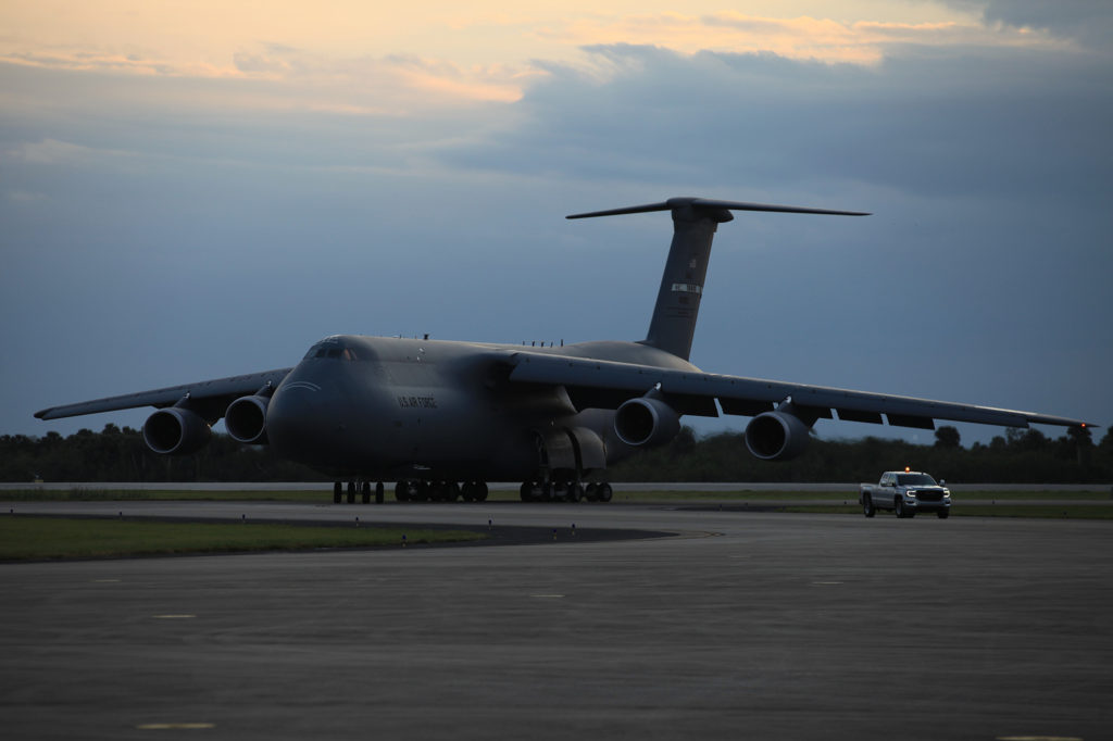 A C-5M transport aircraft arrives at the Shuttle Landing Facility at NASA's Kennedy Space Center in Florida, carrying the Geostationary Operation Environmental Satellite-S (GOES-S). The satellite will be offloaded and transported to the Astrotech Space Operations facility in Titusville, Florida.