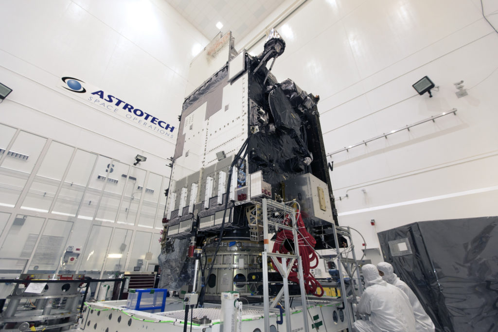 NOAA's GOES-S weather satellite is prepared for encapsulation in its payload fairing inside Astrotech Space Operations in Titusville, Florida.