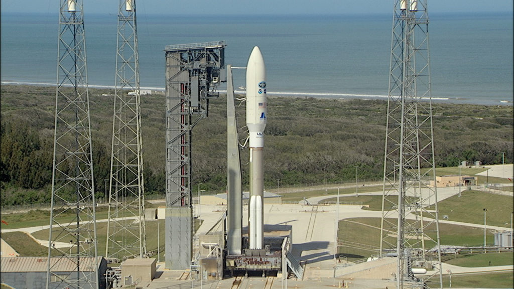 A United Launch Alliance Atlas V rocket stands ready for liftoff at Space Launch Complex 41 at Cape Canaveral Air Force Station in Florida.