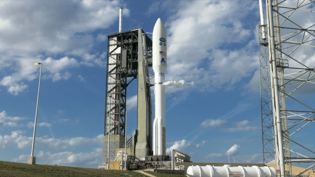 The ULA Atlas V rocket with NOAA's GOES-S satellite is ready for liftoff.