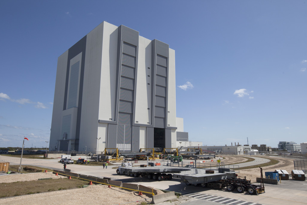 The second half of the G-level work platforms arrives at Kennedy Space Center.