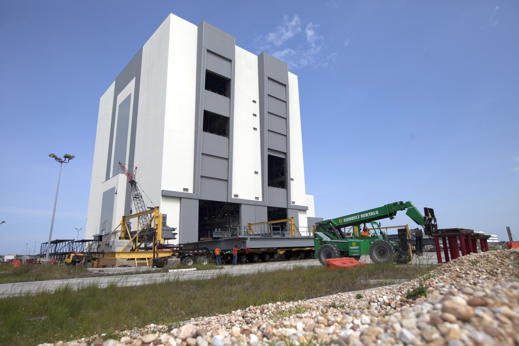 Work platform D North arrived at the Vehicle Assembly Building at NASA's Kennedy Space Center in Florida.