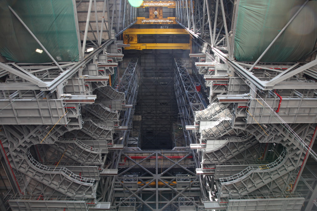 The first half of the F platforms is lowered into place in High Bay 3 of the Vehicle Assembly Building. at NASA's Kennedy Space Center in Florida.