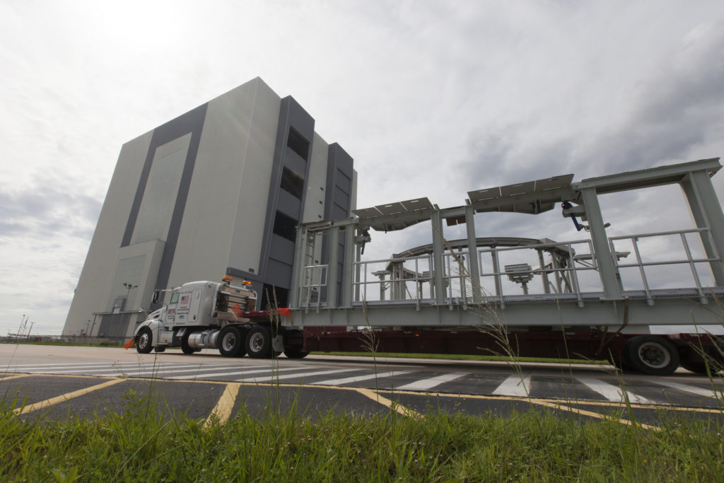 SLS booster service platforms arrive at Kennedy Space Center in Florida.