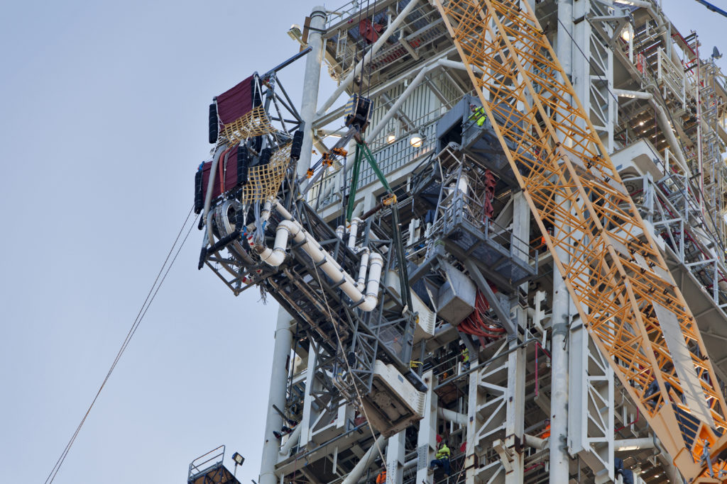 The ICPSU is installed on the mobile launcher tower at NASA's Kennedy Space Center in Florida.