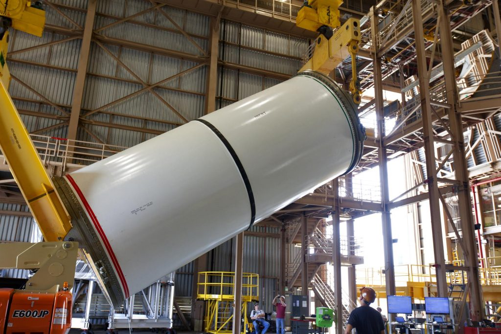 A booster lift in the Rotation, Processing and Surge Facility at NASA's Kennedy Space Center in Florida.