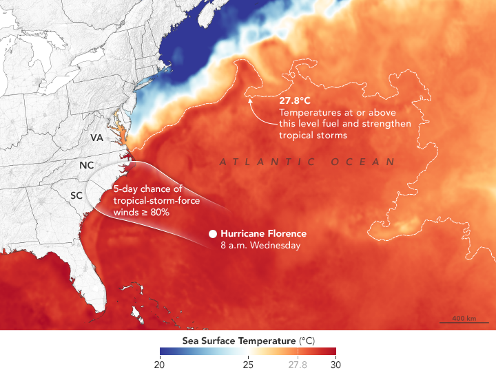 NASA Earth Observatory image by Joshua Stevens, using sea surface temperature data from Coral Reef Watch and wind probabilities from the National Hurricane Center.