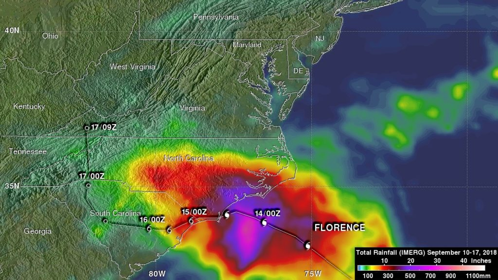 IMERG data from rainfall from Florence