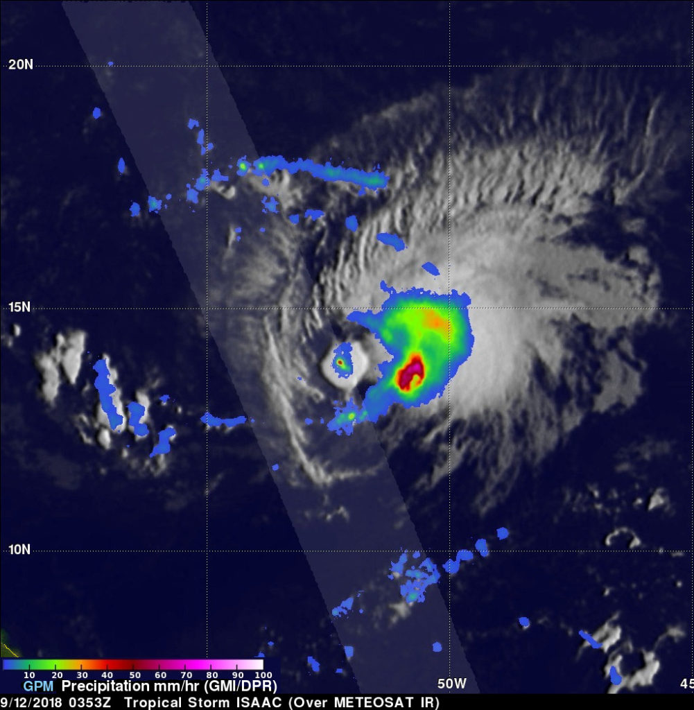 GPM image of Isaac