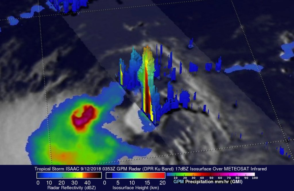 GPM 3-D image of Isaac
