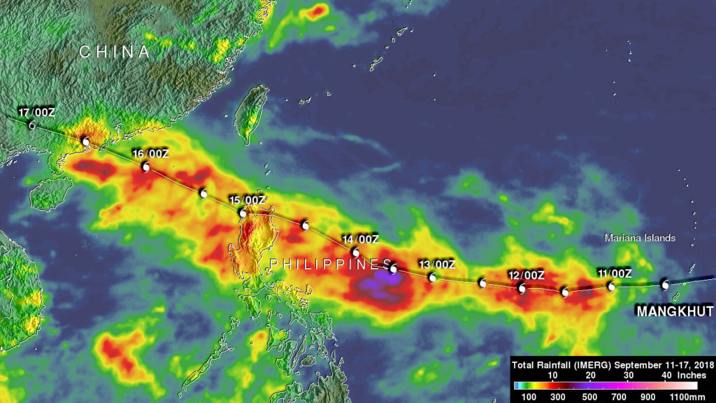 GPM image of Mangkhut's rainfall totals