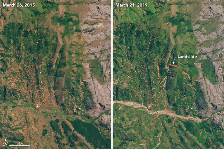 Before and after images of the flooding in Mozambique