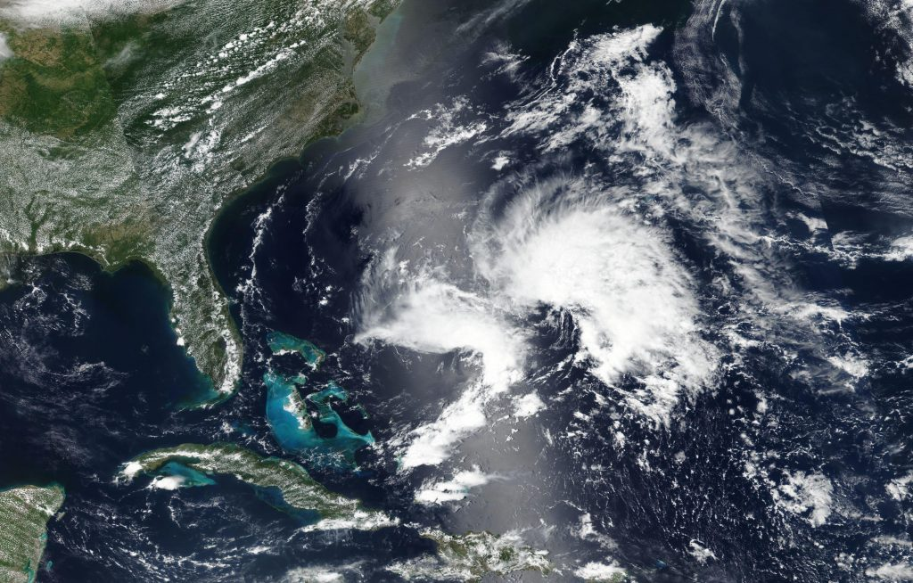 Worldview image of Subtropical Storm Andrea on May 20, 2019.
