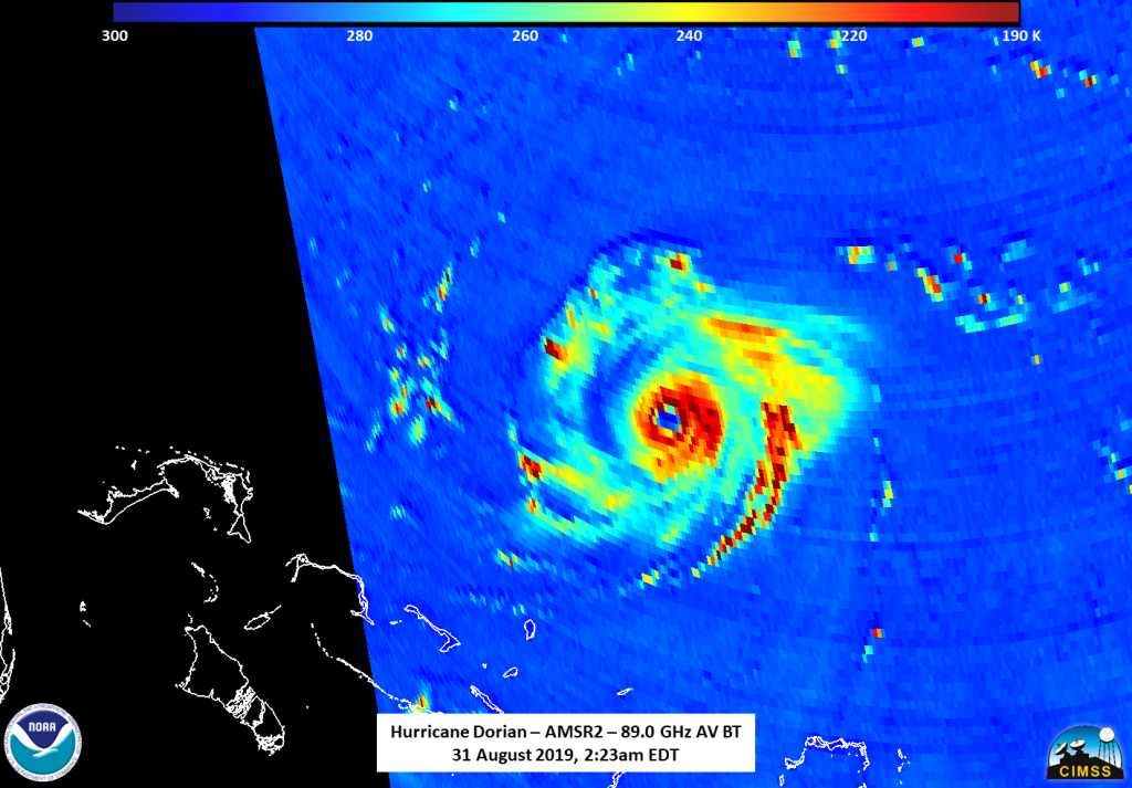 GCOM - W1 satellite catches the eye of the Dorian and a possible eyewall replacement.