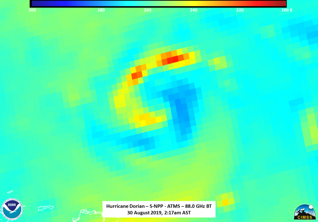 Suomi NPP ATMS instrument shows the circulation of Dorian.