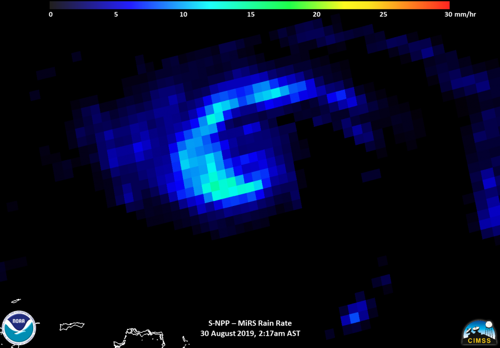 Suomi NPP MISR instrument showing rainfall in Dorian