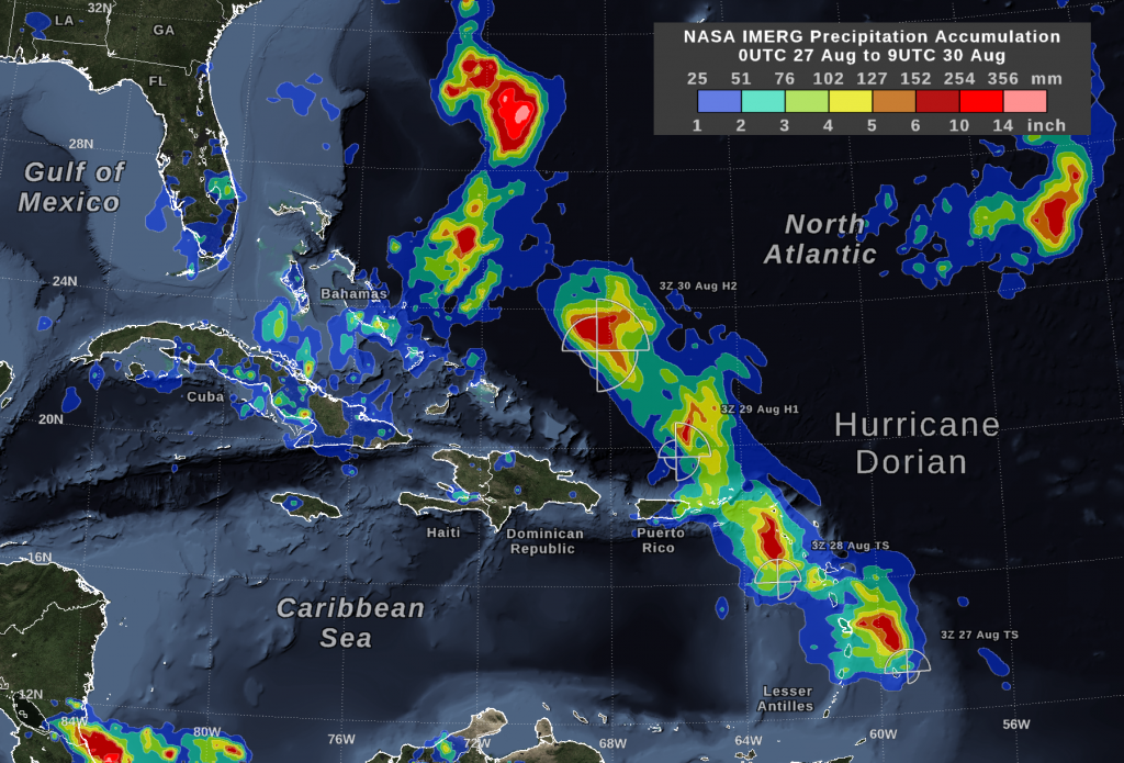 IMERG estimates Hurricane Dorian's rain