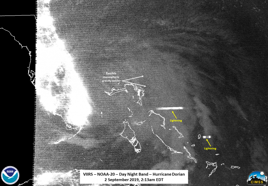 NOAA-20 day night band image of Dorian