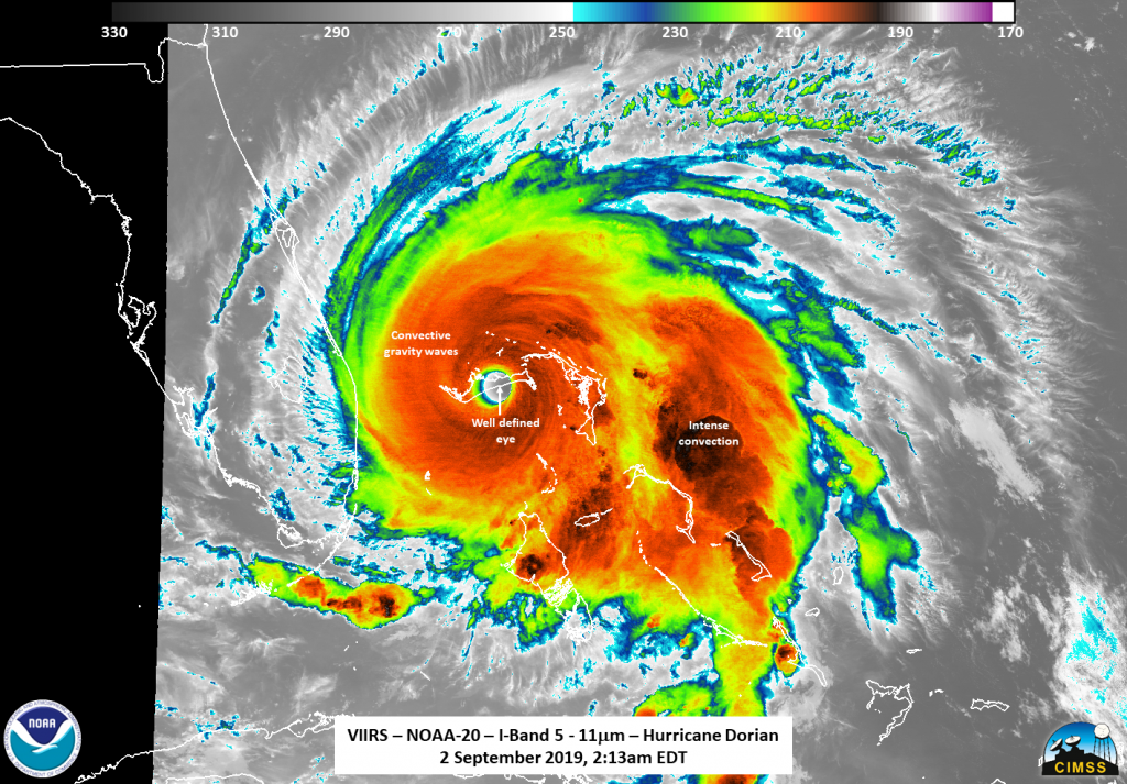 NOAA-20 image of Hurricane Dorian