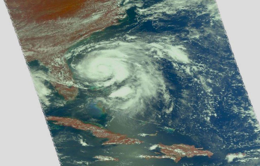 Near visible Aqua image of Humberto