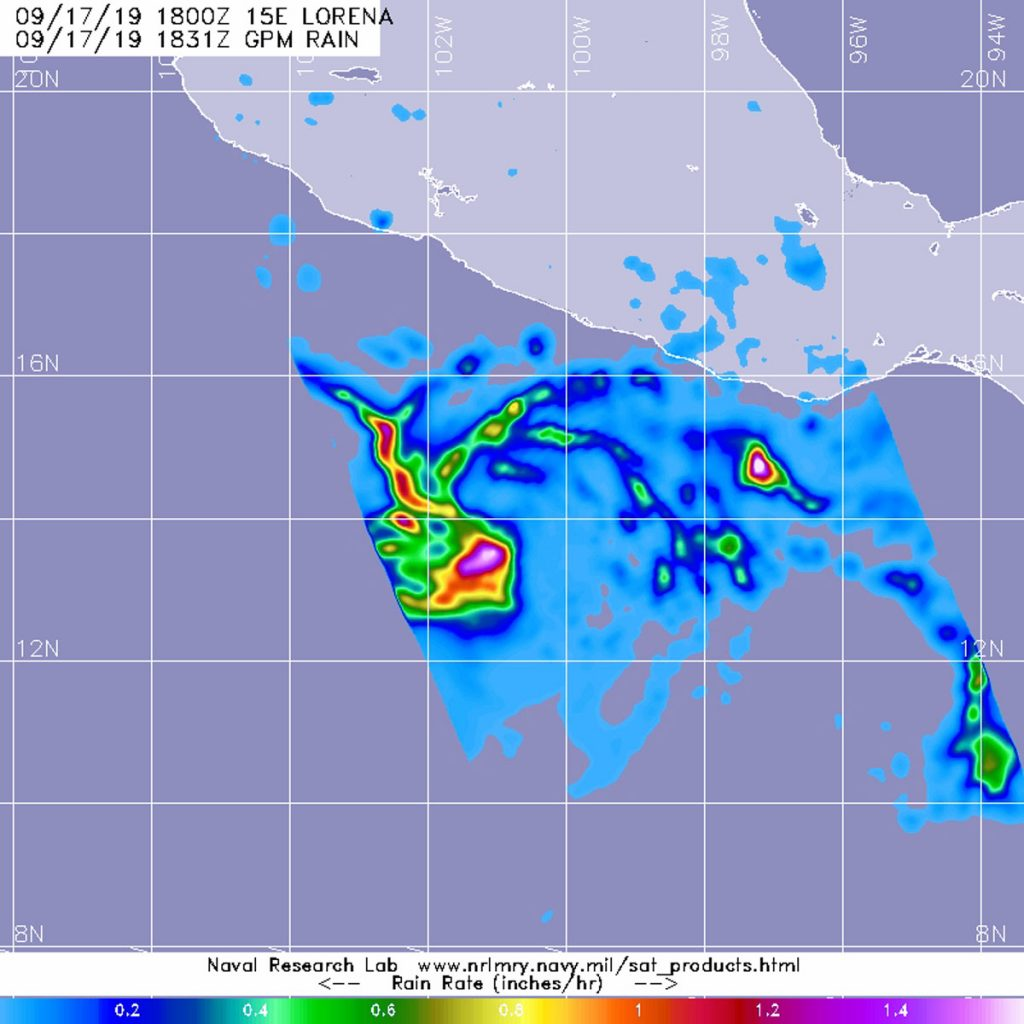 GPM image of Lorena