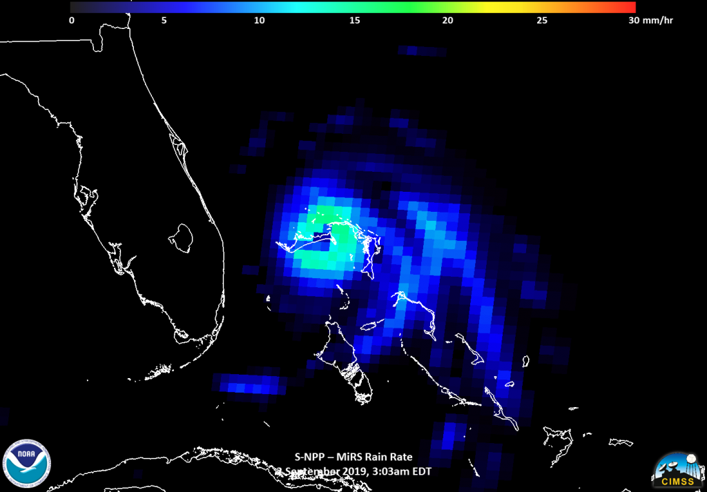 Suomi NPP image of Dorian showing rainfall rates
