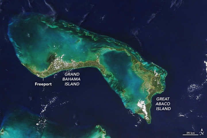 Great Abaco Island and Grand Bahamas on Aug. 17