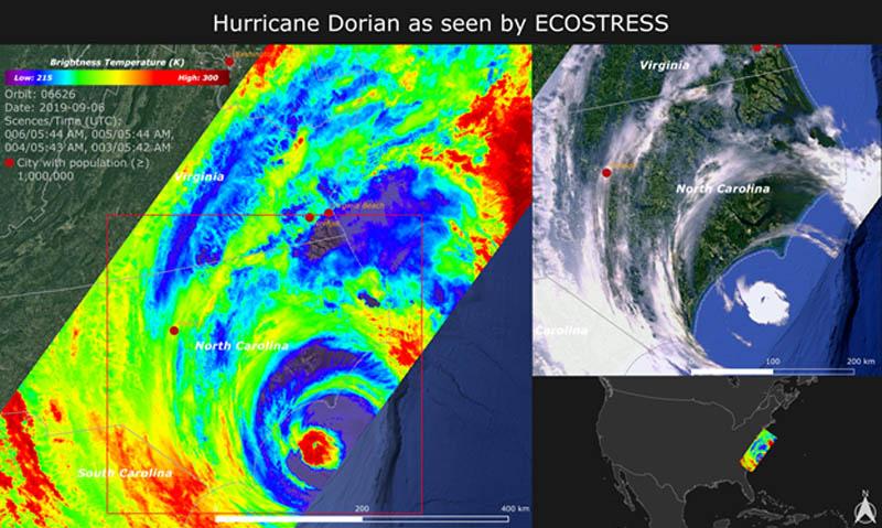 Ecostress image of Dorian