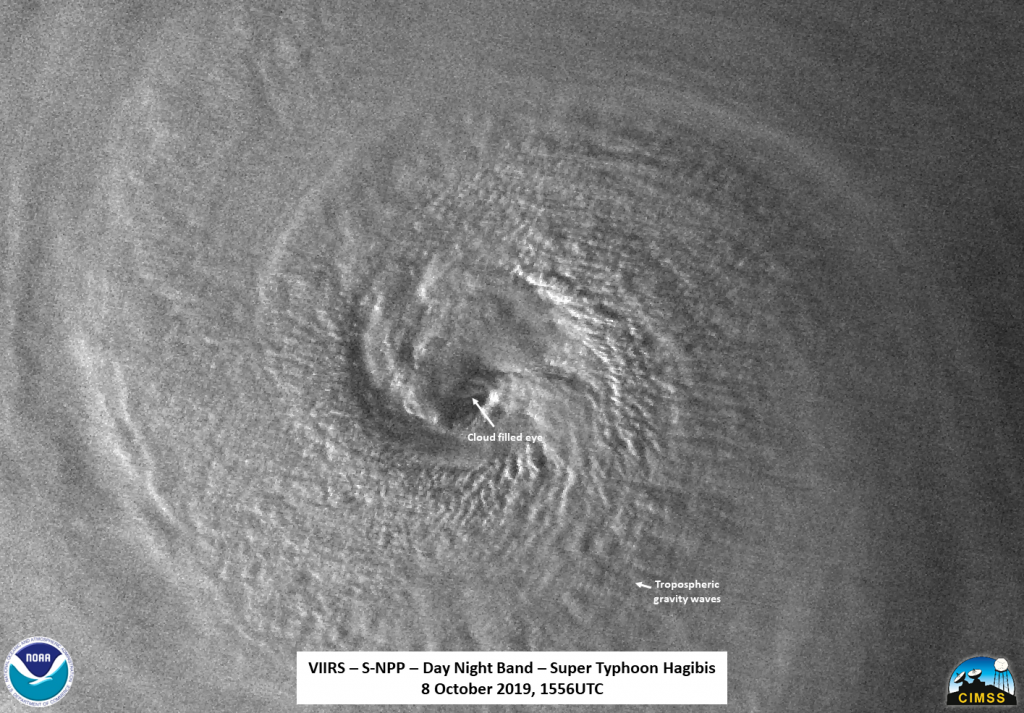 Hagibis as seen by NPP on Oct. 8, 2019