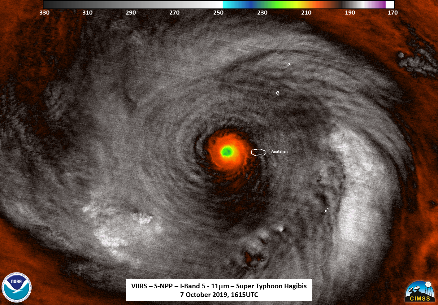hurricane in black and white, with red/yellow eye