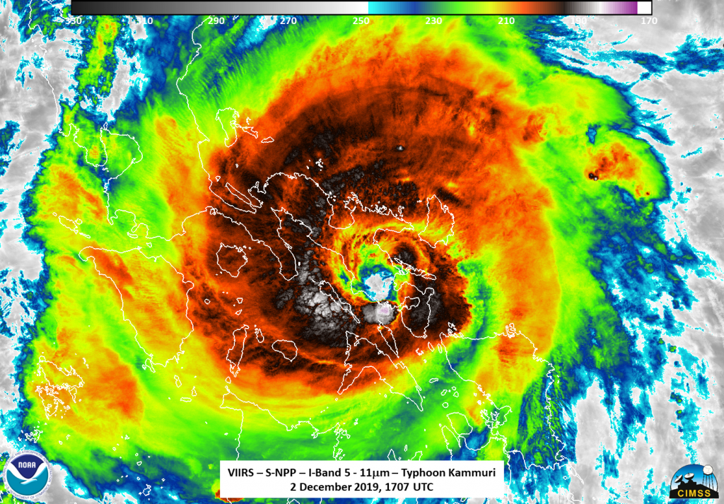 Suomi NPP infrared image of Kammuri