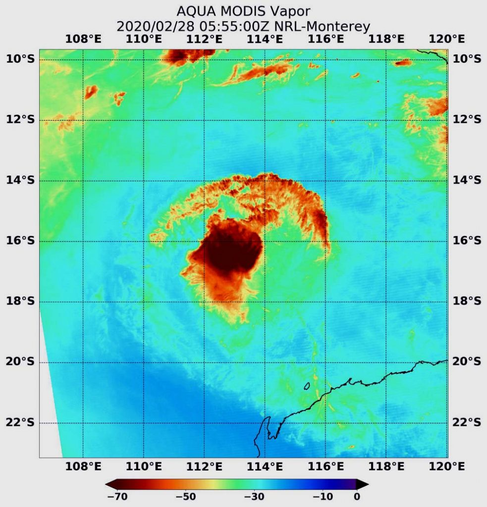 red/black blob and arc suggest a hurricane on a field of bluegreen data