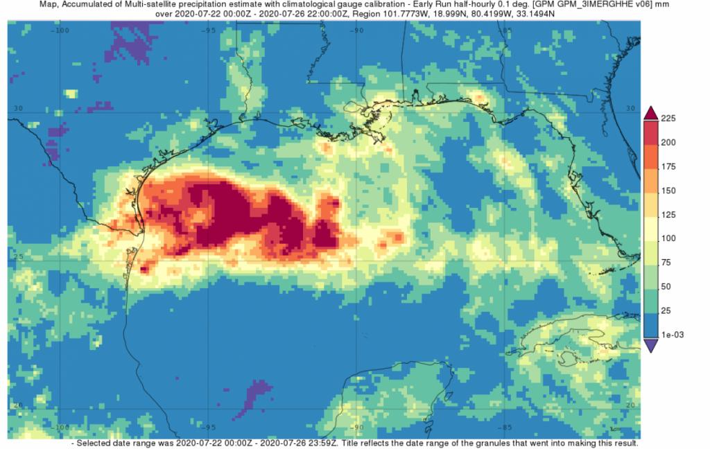 IMERG data of rainfall from Hanna