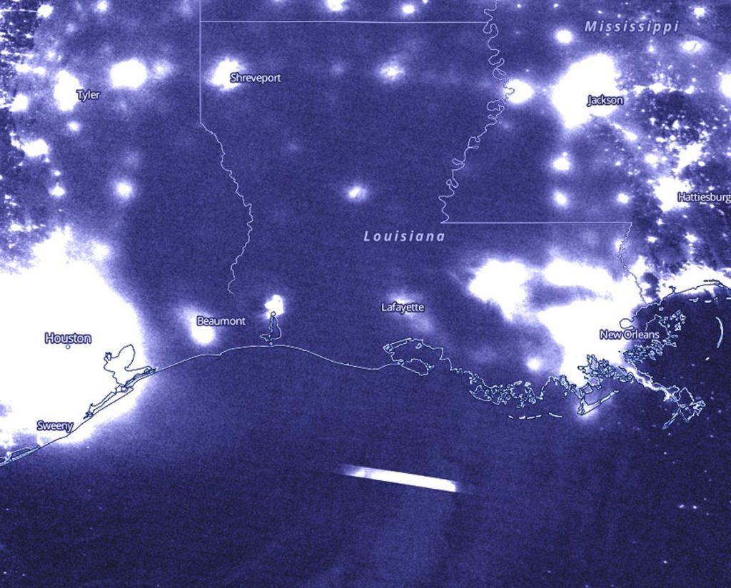 Suomi NPP image of Laura at night