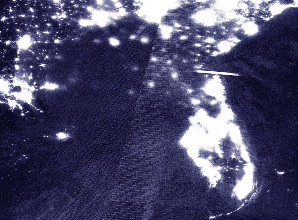 Nighttime Suomi NPP image of Sally