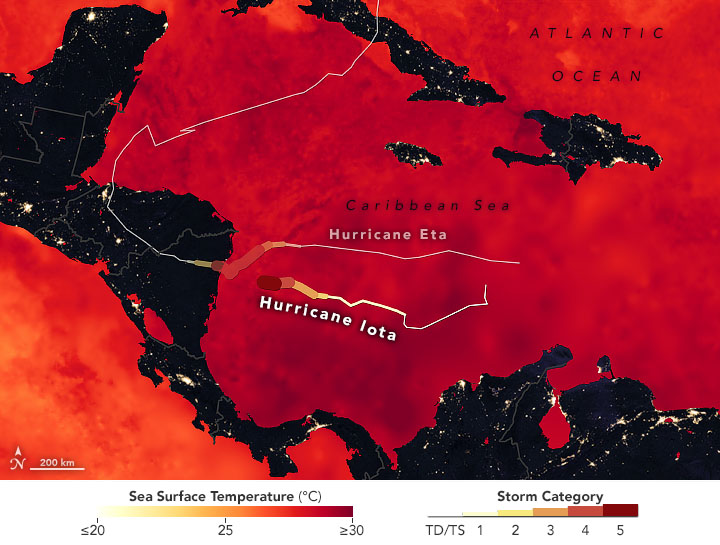 This map shows sea surface temperatures on Nov. 15,