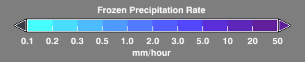Color bar for frozen precipitation rates (ie, snow rates). Shades of cyan represent low amounts of frozen precipitation, whereas shades of purple represent high amounts of precipitation.