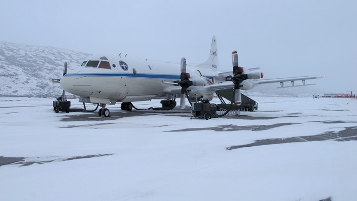 P-3 on the ramp on a snowy morning
