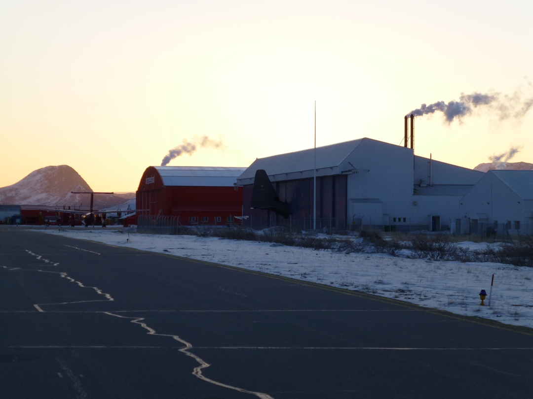 Steam rising from buildings at Kangerlussuaq airport