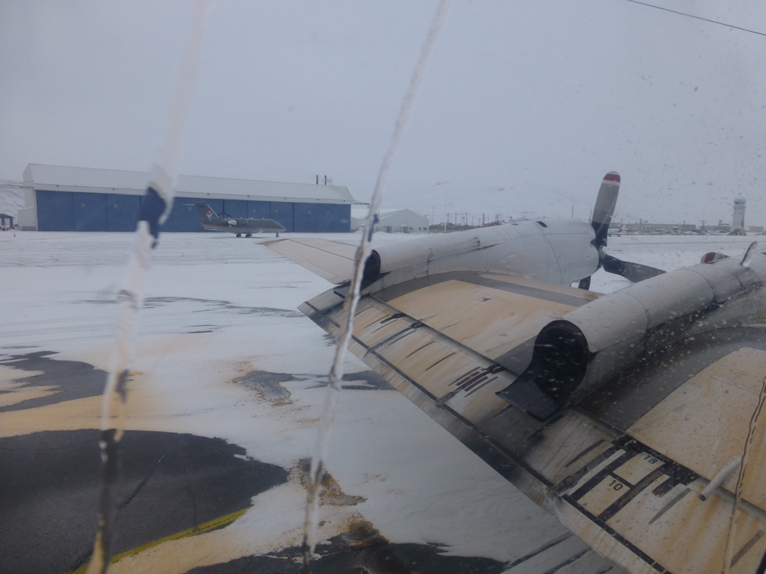 Deicing agent residue on the P-3 wing