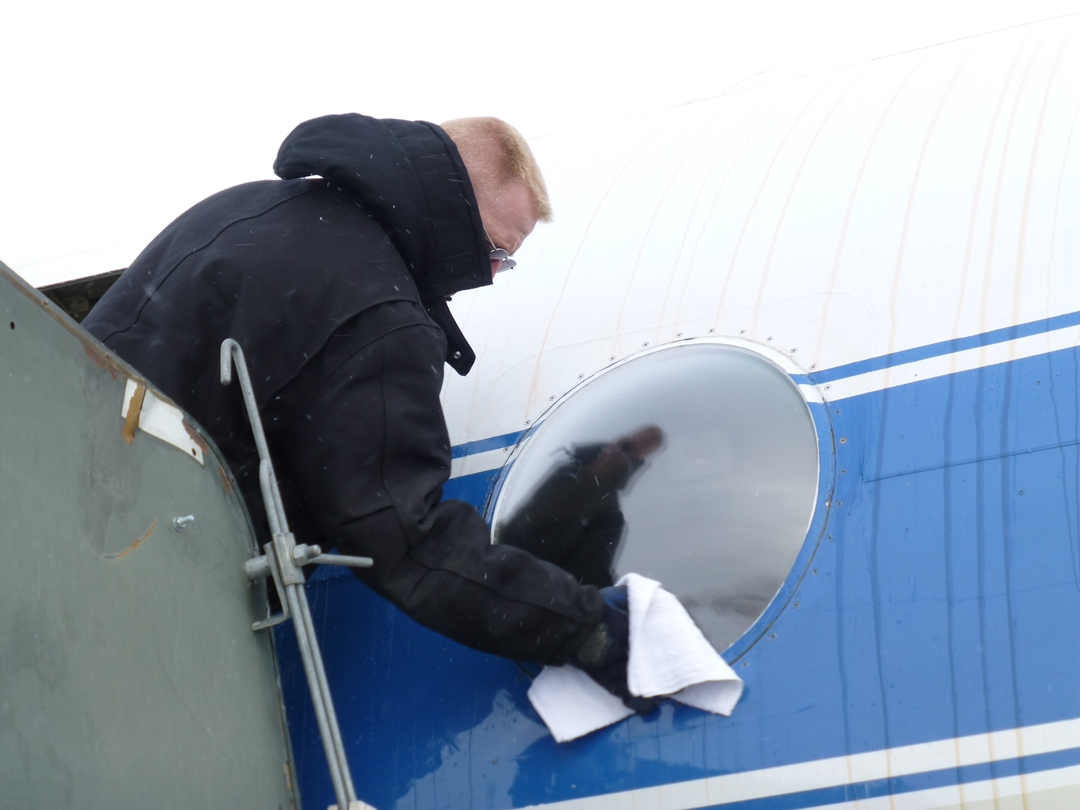 Cleaning one of the bubble windows