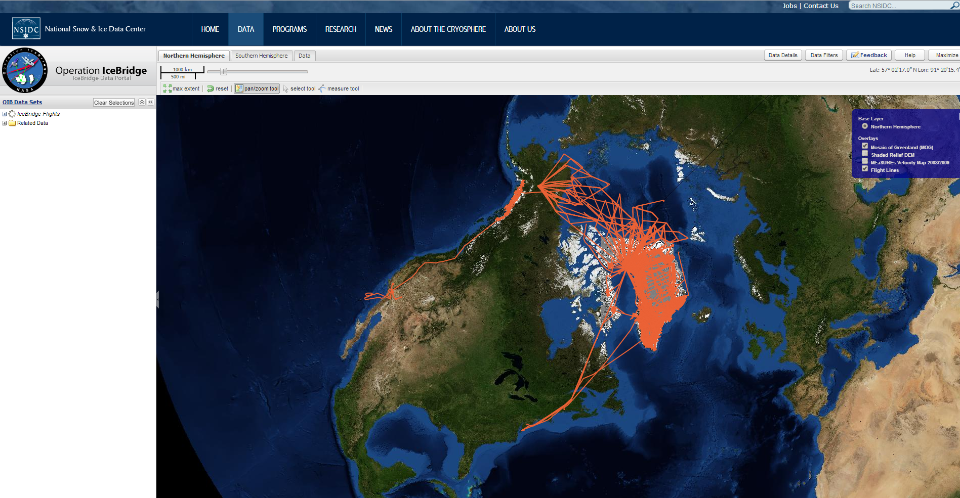 screenshot of IceBridge data portal page