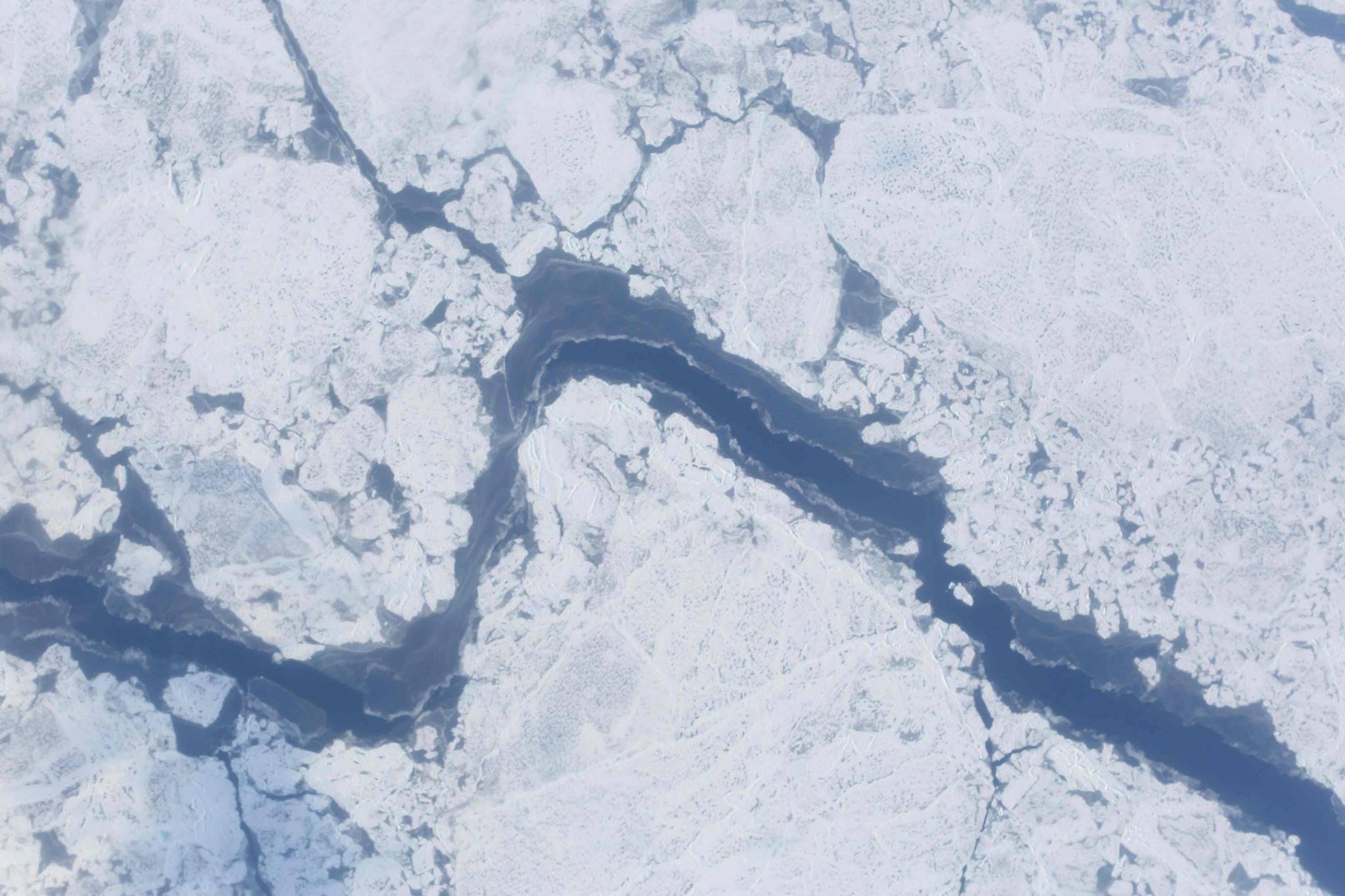 Digital camera shot of large sea ice lead