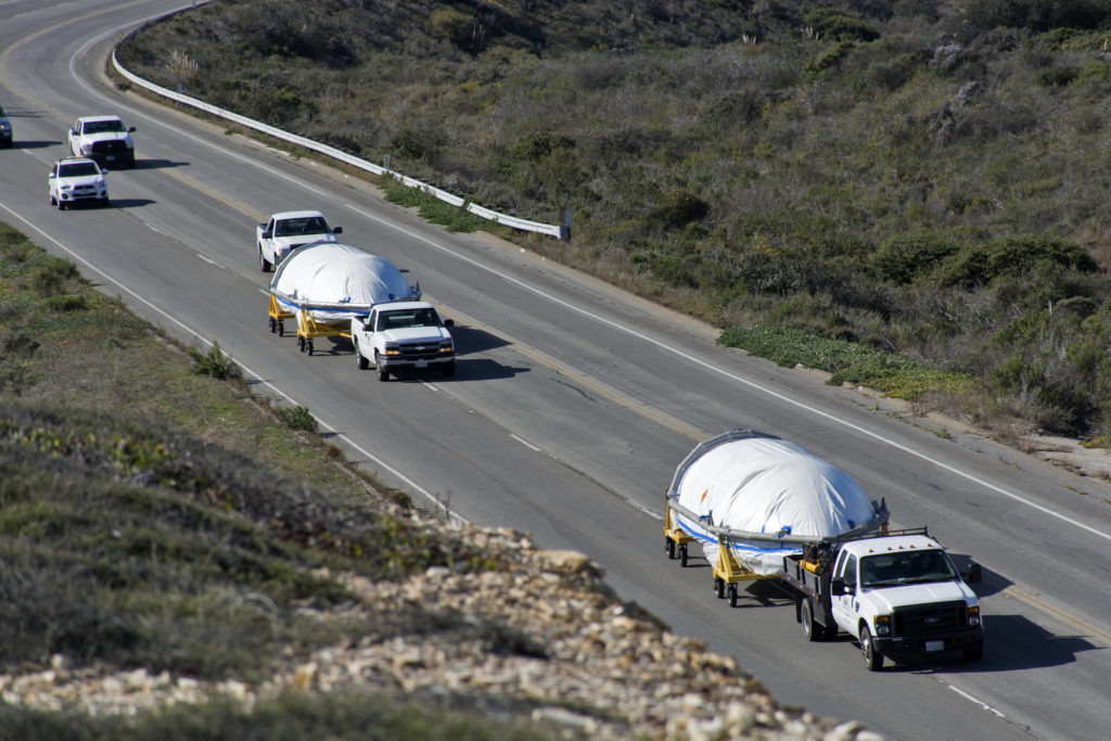 The payload fairings for the United Launch Alliance Delta II rocket arrive at Vandenberg Air Force Base in California.